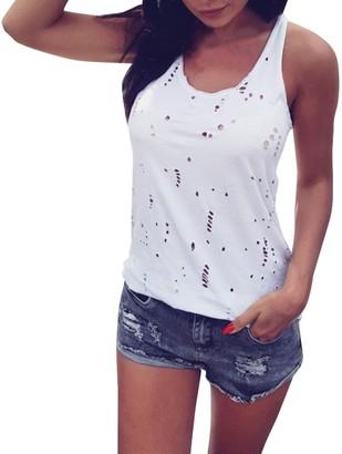 Henri Women's Valueweight T-Shirt Women's Undershirt Holes Casual Summer Camis Tank Tops Blouse Loose T-Shirt Seamless Fashion Vest White