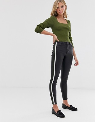 Vero Moda coated PU trousers with side panels