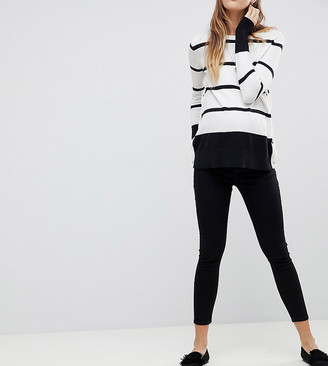 Asos DESIGN Maternity Whitby low rise skinny jeans in clean black with removable bump band