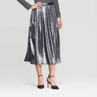 Who What Wear Women's Mid-Rise Flowy Midi Skirt - Who What WearTM Silver