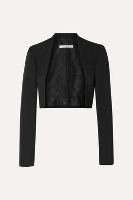 Givenchy Cropped Felt-trimmed Grain De Poudre Wool Blazer - Black