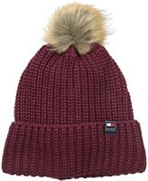 Tommy Hilfiger Women's One Size Ribbed Cuff Beanie with Faux Fur Pom