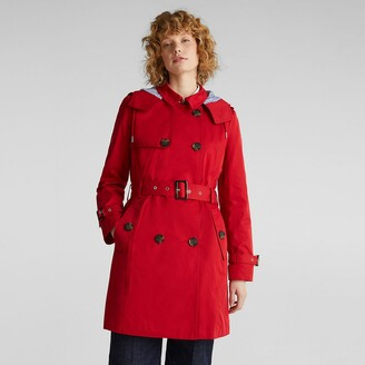 Esprit Cotton Mix Trench Coat with Hood
