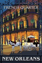 New Orleans, Louisiana - French Quarter at Night (9x12 Art Print, Wall Decor Travel Poster)
