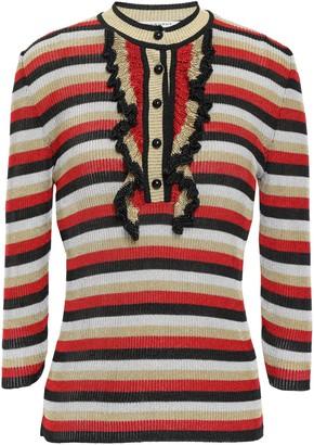 Philosophy di Lorenzo Serafini Ruffle-trimmed Metallic Striped Ribbed-knit Top