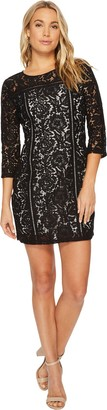 BB Dakota Women's Shelby Floral Lace 3/4 Sleeve Dress