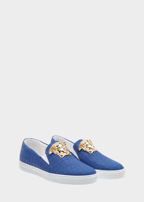 Versace Mock Croc Slip-on Palazzo Sneakers