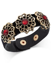 Thalia Sodi Gold-Tone Red-Stone Velvet Statement Bracelet, Only at Macy's