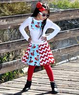 Beary Basics White & Blue Fox Top & Chevron Skirt Set - Infant Toddler & Girls