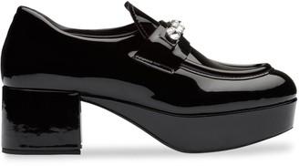 Miu Miu crystal embellished platform loafers