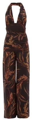 Norma Kamali Bill Halterneck Wheat-print Jersey Jumpsuit - Womens - Brown Print