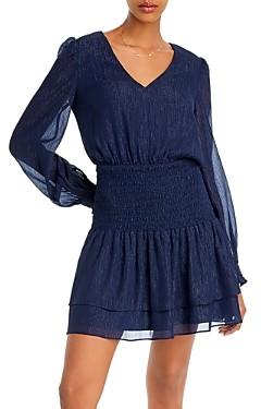 Aqua Metallic Smocked Mini Dress - 100% Exclusive