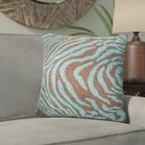 Delrick Zebra Print Throw Pillow Cover Bloomsbury Market Color: Green