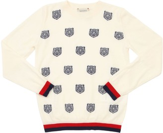 Gucci Mini Tiger Jacquard Knit Wool Sweater