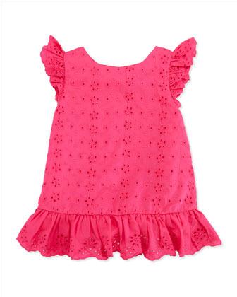 Ralph Lauren Little Spring Eyelet Top, Pink, Toddler Girls' 2T-3T