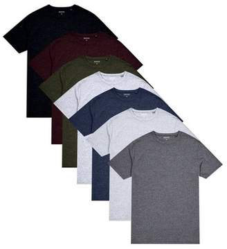 Burton Mens 7 Pack Black, White, Navy, Khaki, Charcoal, Burgundy And Frost Grey Marl T-Shirt