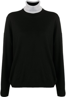 Paco Rabanne Contrast Knit Roll Neck
