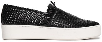 Michael Kors Frayed Woven Leather Slip-on Sneakers