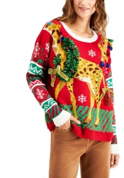 Hooked Up by IOT Juniors' Giraffe Holiday Sweater
