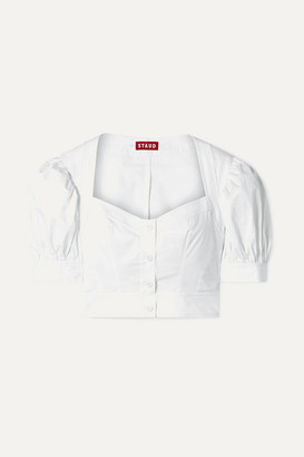 STAUD Rene Cropped Stretch-cotton Poplin Top - White