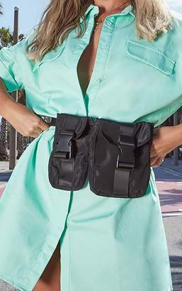 PrettyLittleThing Black Double Pocket Pouch Bag