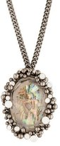 Roberto Cavalli Mother of Pearl and Crystal Pendant Necklace