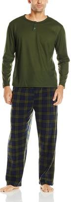Essentials by Seven Apparel Men's Long Sleeve Pajama Set with Fleece Bottom