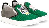 Fendi logo slip-on sneakers - kids - Leather/rubber - 29