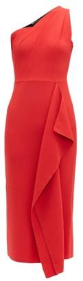 Roland Mouret Rivoli One Shoulder Wool-crepe Dress - Womens - Red