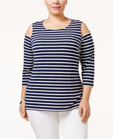 Charter Club Plus Size Cold-Shoulder Striped Top, Only at Macy's