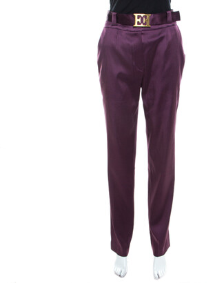 Escada Purple Stretch Satin Logo Belt Detail High Waist Tapered Trousers M