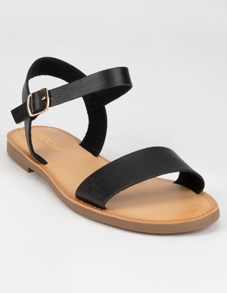 Soda Sunglasses Ankle Strap Womens Black Sandals