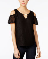 Lily Black Juniors' Embellished Off-The-Shoulder Lace Top, Only at Macy's