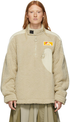 Off-White Beige Eco Fur Moto Half-Zip Pullover