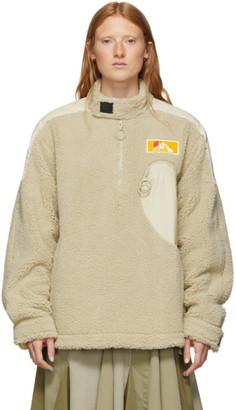 Off-White Off White Beige Eco Fur Moto Half-Zip Pullover