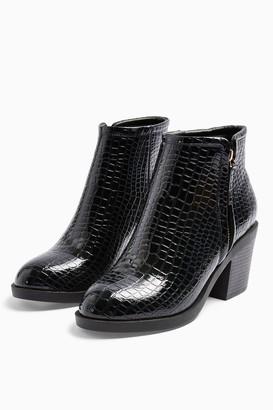 Topshop Womens Bondi Navy Zip Unit Boots - Navy Blue