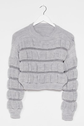 Nasty Gal Womens Pull a Fast One Ruched Knit Sweater - Silver