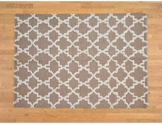 Jamison Isabelline One-of-a-Kind Pure Moroccan Geometric Design Hand-Knotted 5' x 7' Wool Brown Area Rug Isabelline