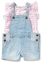Jessica Simpson Baby Girls 12-24 Months Denim Shortall & Striped Slub-Jersey Tee