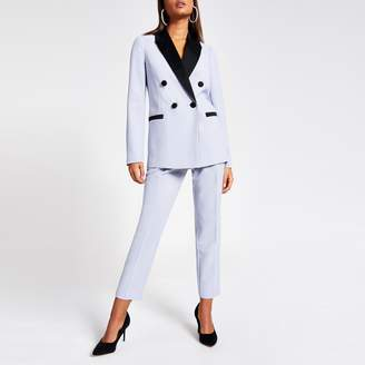 River Island Womens Blue satin lapel double breasted blazer