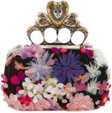 Alexander McQueen Heart Knuckle floral box clutch - women - Silk/Leather/metal - One Size