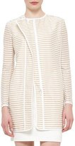 Akris Punto Skinny-Striped Zip-Front Long Jacket, Cord Cream