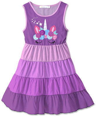 Sunshine Swing Girls' Casual Dresses - Purple & Pink Unicorn Star Color Block A-Line Dress - Toddler & Girls