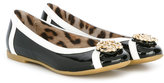 Roberto Cavalli metal logo ballerinas - kids - Patent Leather/Metal (Other)/Pig Leather/rubber - 35