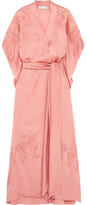 Carine Gilson Chantilly Lace-trimmed Silk-satin Robe - Pastel pink