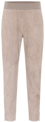 Brunello Cucinelli High-rise suede pants