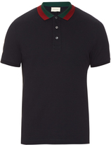 Gucci Floral-embroidered cotton-blend polo shirt