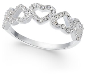 Charter Club Silver-Tone Pave Open Heart Ring, Created for Macy's