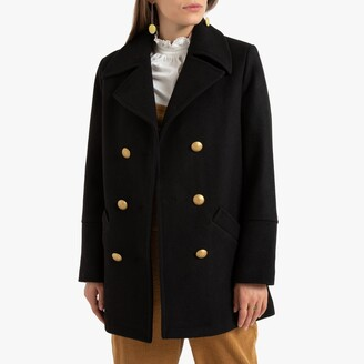 La Redoute Collections Wool Mix Pea Coat with Pockets and Double-Breasted Buttons