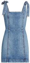 Alice + Olivia Jeans Maryann Denim Tie-Shoulder Mini A-Line Dress